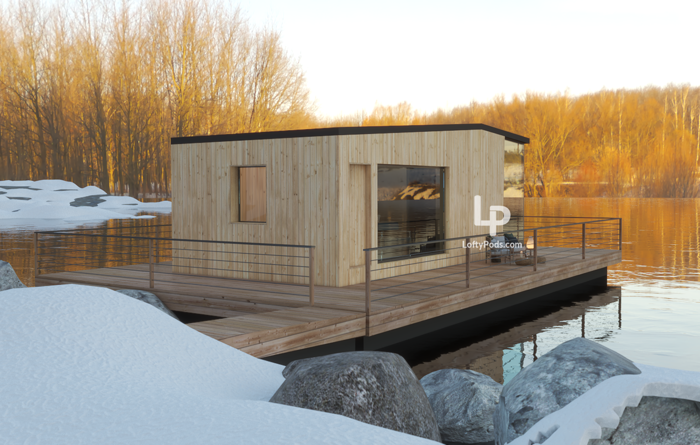 floating house, Quebec tiny home